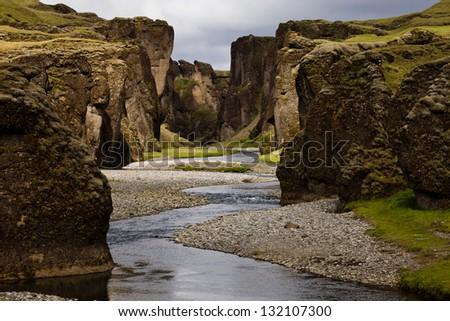 Fjadrargljufur gorge - stock photo