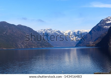 Fjord and mountains of Hardanger, western part of Norway