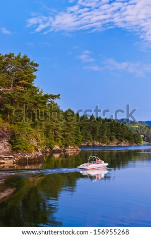 Fjord in Norway - nature and travel background - stock photo