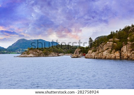 Fjord Lysefjord in Norway - nature and travel background - stock photo