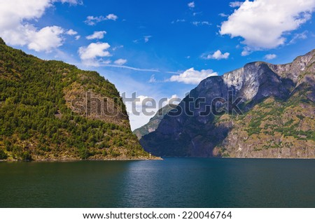 Fjord Naeroyfjord in Norway - UNESCO Site - nature and travel background