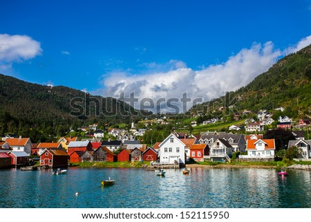 Fjord village - stock photo