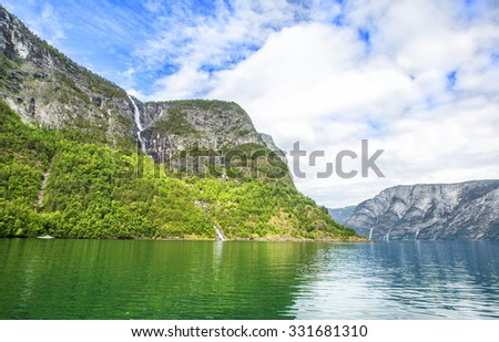 Fjords in Norway and Scandinavian nature. Neroyfjord is the narrowest fjord in Norway.