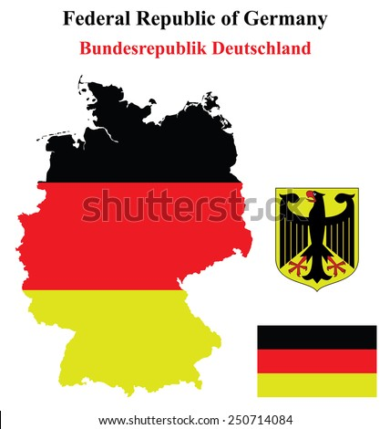 Flag and coat of arms of the Federal Republic of Germany overlaid on detailed outline map isolated on white background