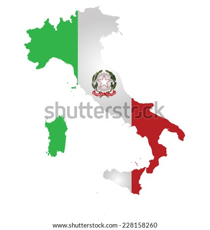 Flag and coat of arms of the Italian Republic overlaid on detailed outline map isolated on white background  - stock photo