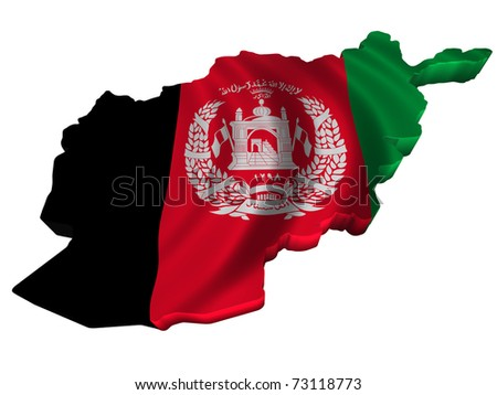 Flag and map of Afghanistan - stock photo