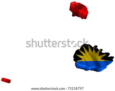 Flag and map of Antigua and Barbuda - stock photo