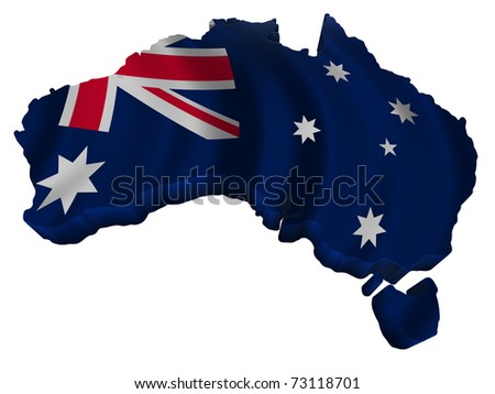 Flag and map of Australia - stock photo