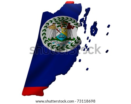 Flag and map of Belize - stock photo
