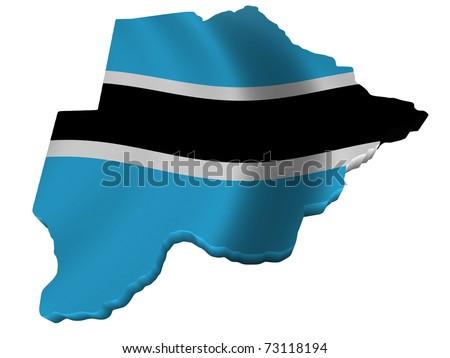 Flag and map of Botswana - stock photo