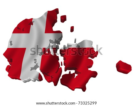 Flag and map of Denmark - stock photo