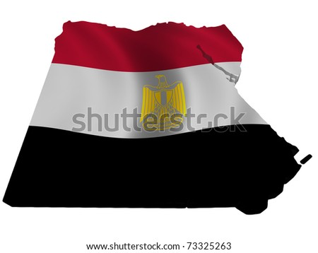 Flag and map of Egypt - stock photo