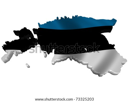 Flag and map of Estonia - stock photo