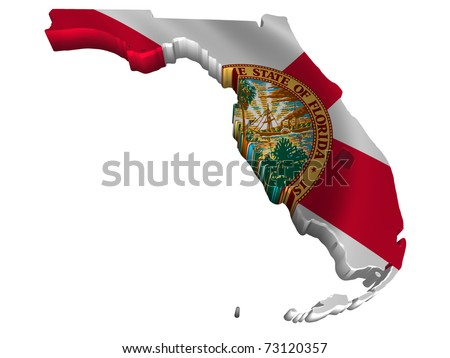 Flag and map of Florida - stock photo