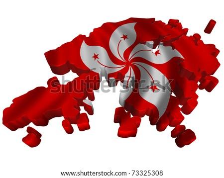 Flag and map of Hong-Kong - stock photo