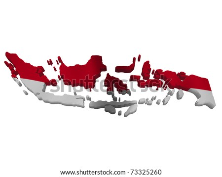 Flag and map of Indonesia - stock photo