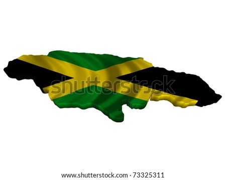 Flag and map of Jamaica - stock photo