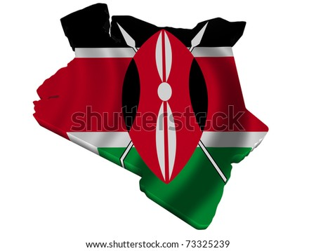Flag and map of Kenya - stock photo