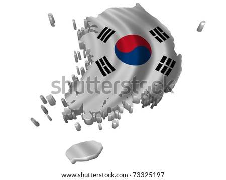 Flag and map of Korea South - stock photo