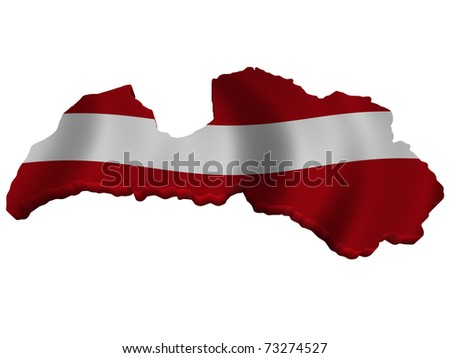 Flag and map of Latvia - stock photo