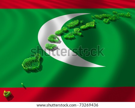 Flag and map of Maldives - stock photo