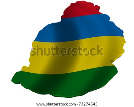 Flag and map of Mauritius - stock photo