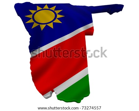 Flag and map of Namibia - stock photo