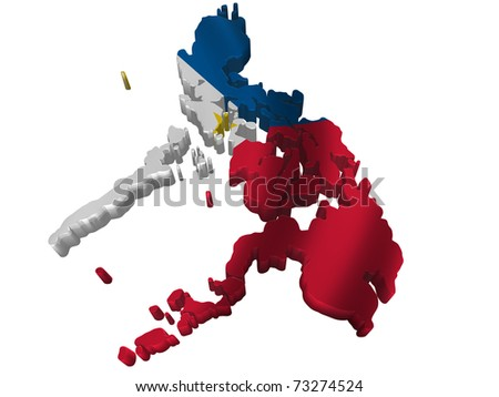Flag and map of Philippines - stock photo