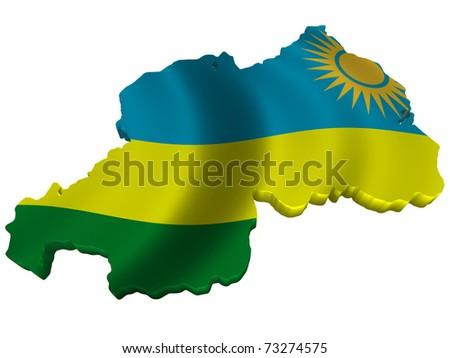 Flag and map of Rwanda - stock photo