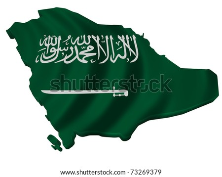 Flag and map of Saudi Arabia