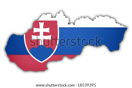 flag and map of slovakia on white background