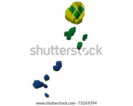 Flag and map of St. Vincent and the Grenadines - stock photo
