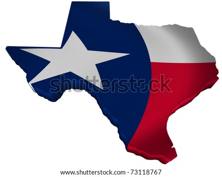 Flag and map of Texas - stock photo