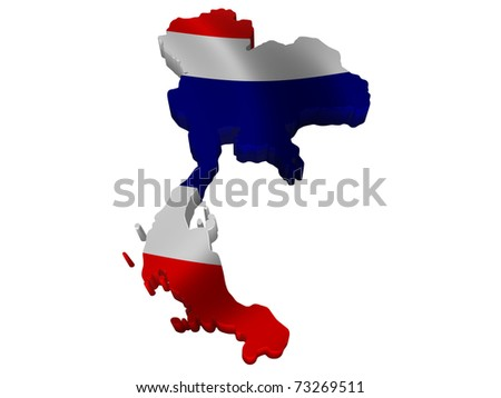 Flag and map of Thailand - stock photo