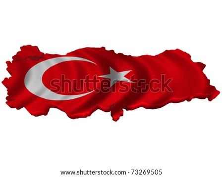 Flag and map of Turkey - stock photo