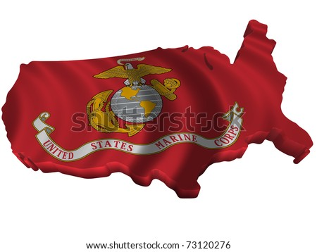 Flag and map of United States Marine Corps - stock photo