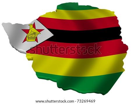Flag and map of Zimbabwe - stock photo