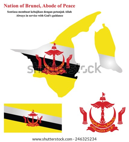 Flag and national emblem of the Nation of Brunei which forms part of Borneo overlaid on detailed outline map isolated on white background  - stock photo