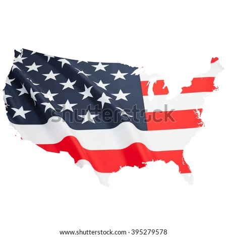 Flag blowing in the wind. Part of border alike shaped ruffled flag series - USA - stock photo