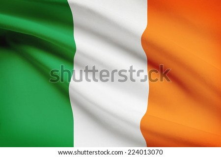 Flag blowing in the wind series - Ireland - stock photo