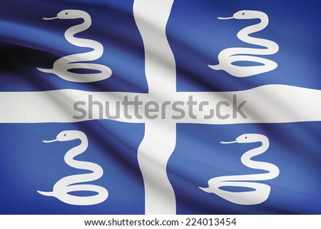 Flag blowing in the wind series - Martinique - stock photo