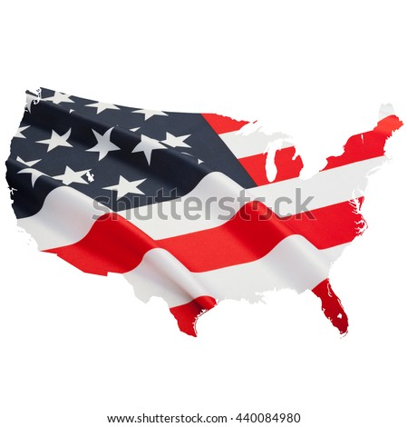 Flag blowing in the wind. Series of flags shaped according to national borders - USA - stock photo