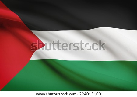 Flag blowing in the wind series - Palestine - stock photo