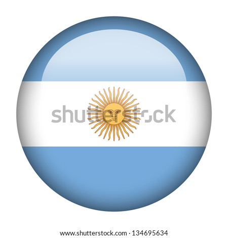 Flag button illustration - Argentina - stock photo