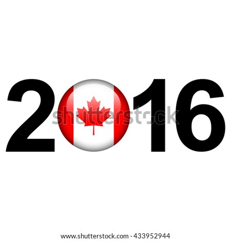 Flag button illustration with year - Canada - stock photo