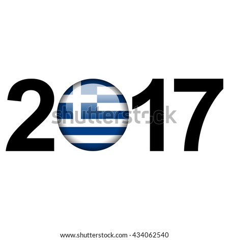Flag button illustration with year - Greece - stock photo