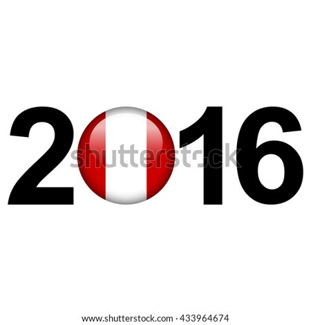 Flag button illustration with year - Peru - stock photo