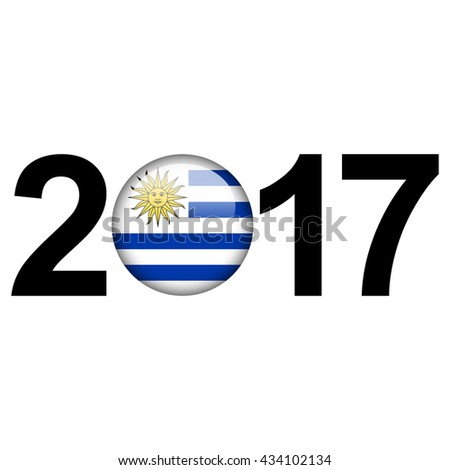 Flag button illustration with year - Uruguay - stock photo