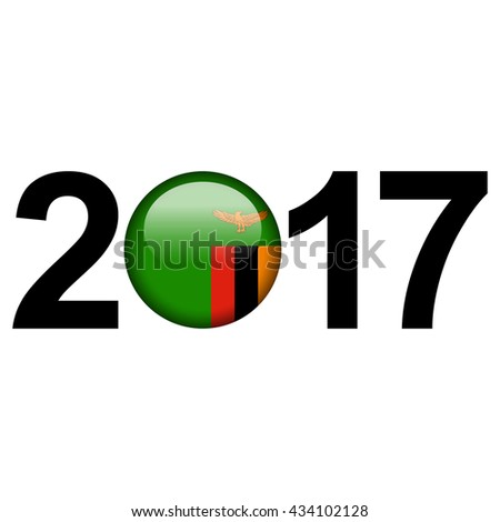 Flag button illustration with year - Zambia - stock photo