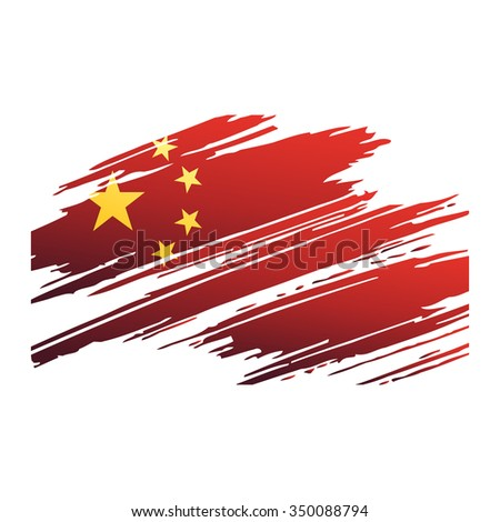 Flag China in the form traces brushisolated - stock photo